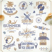 Link toHappy summer holiday travel logos and labels vector 01 free