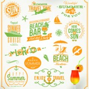 Link toHappy summer holiday travel logos and labels vector 02 free