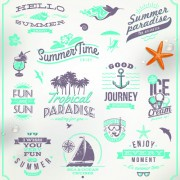 Link toHappy summer holiday travel logos and labels vector 03 free