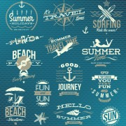 Link toHappy summer holiday travel logos and labels vector 04 free