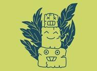 Happy totem cartoon vector free