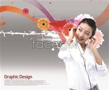Link toHeadphones on beautiful design elements psd
