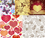 Link toHeart butterfly-shaped pattern background vector