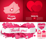 Heart-shaped decorative envelopes vector