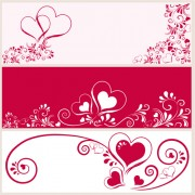 Link toHeart with floral banner vector graphics free