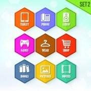Link toHexagon icons design vector set 04