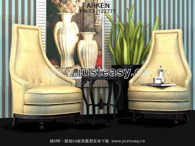 Link toHigh back and elegant european-style single sofa 3d model
