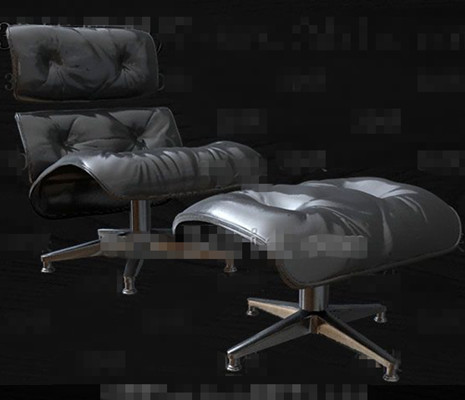 Link toHigh-grade black leather single sofa 3d model