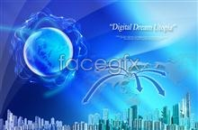 Link toHigh-rise blue earth marketing network topics background psd