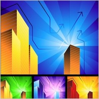 Link toHighrise buildings with simple background radiation vector
