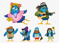 Link toHippie cartoon birds vector free
