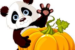 Link toHold pumpkin panda cartoon vector