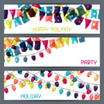 Link toHoliday hanging flags banner vector