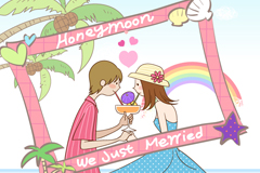 Honeymoon couple vector