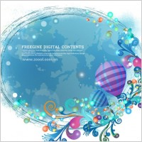 Link toHot air balloon and colorful background pattern vector
