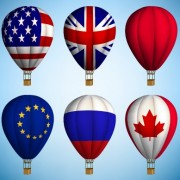 Link toHot air balloon with national flag vector free