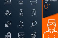 Hotel services element icon vector