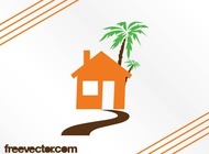 House and palm tree vector free