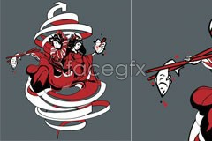 Link tovector character female kimono traditional japan In