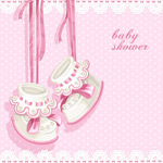 Link toInfant pink party cards vector
