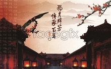 Link toInheritance of chinese ancient buildings in the wind source psd