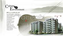 Link toInk stained mood theme design of the high building psd