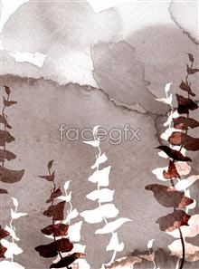 Link toInk watercolor leaves plants psd
