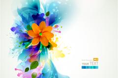 Link toInkjet floral background vector