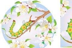 Link toInteresting caterpillars and flowers vector