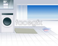 Link toInterior illustration, washers glass curtains bathroom vector