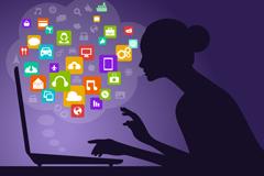Link toInternet women's silhouettes vector illustration