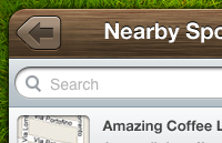 Link toIphone app interface with wood texture psd