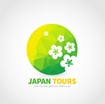 Japan cherry blossom travel logo vector