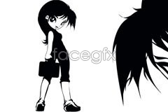 Link tovector white-collar female cartoon-style Japanese