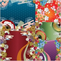 Link toJapanese wind pattern background vector