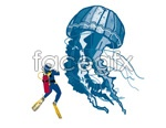 Link toJellyfish with divers vector