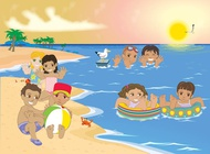 Link toKids at the beach vector free