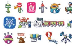 Link toKorea amusement park cartoon vector elements