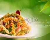Korea cooking ramen noodles psd