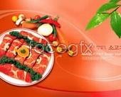 Korea cuisine delicious beef psd