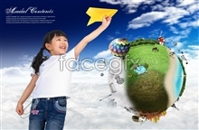 Link toKorea dream fantasy background children take off figures template psd
