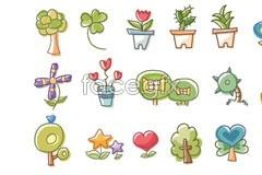 Link toKorea green cartoon vector elements