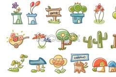 Link toKorea line plant vector cartoon elements