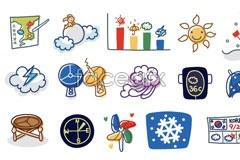 Link toKorea line style weather cartoons vector elements