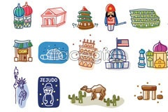 Link toKorea line style world cartoon vector elements