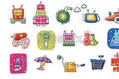 Link toKorea science line style cartoon vector elements