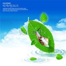 Link toKorean style snail leaves of blue sky design poster psd