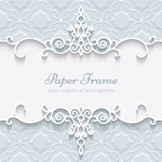 Lace pattern border cards vector