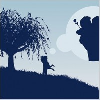Link toLarge trees couple silhouette vector
