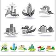 Link toLeaf with home abstract icons vector 01 free